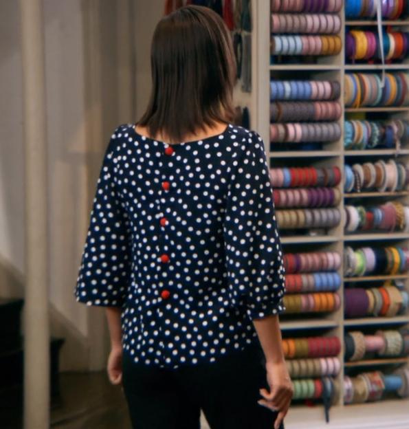 Tilly's blouse back on a model